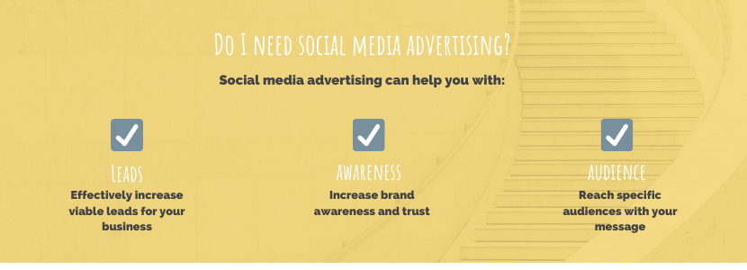 Do I need social media advertising? Social media advertising can help you with: leads, awareness, audience.