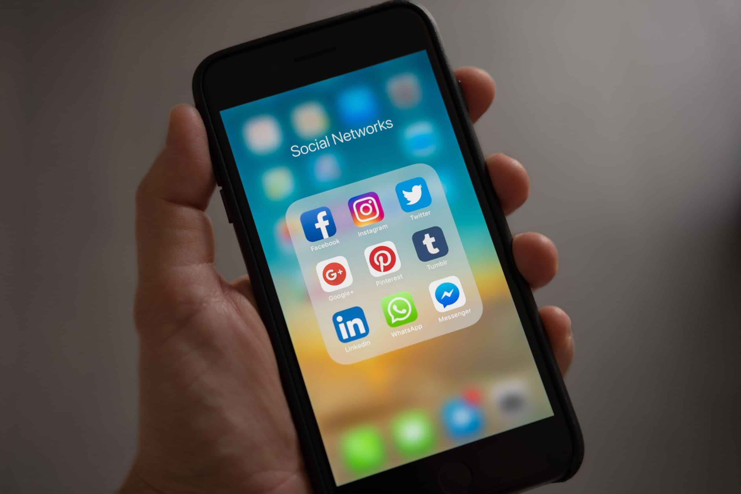 smartphone depicting social media apps.
