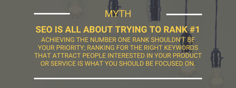 Myth SEO is all about trying to rank #1Achieving the number one rank shouldn't be your priority; ranking for the right keywords that attract people interested in your product or service is what you should be focused on.