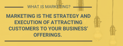 What is marketing? Marketing is the strategy and execution of attracting customers to your business' offerings.